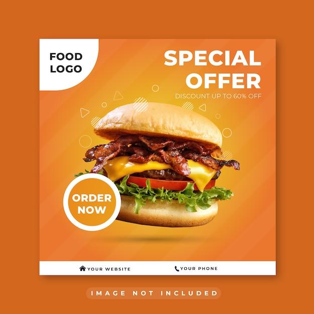 Burger Fast Food Restauracja Social Media Post Premium Wektorów