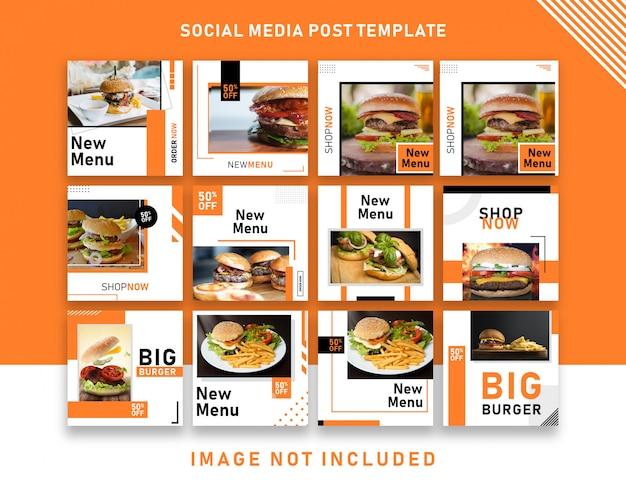Burger Food Menu Promocja Social Media Instagram Post Banner Szablon Premium Wektorów