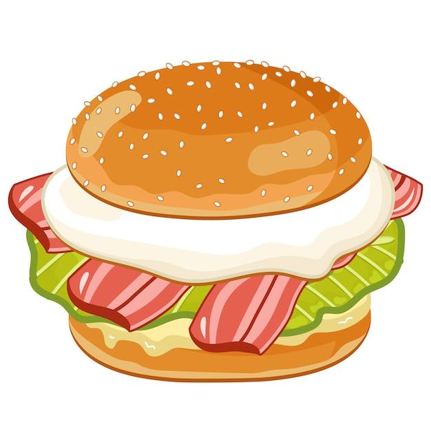 Burger na białym tle Premium Wektorów
