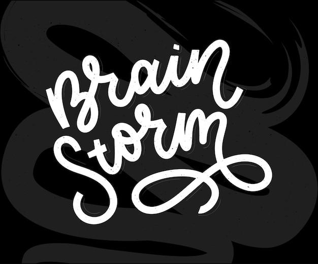 Burza Mózgów Napis Wektor Kaligrafia Plakat Typografii Premium Wektorów