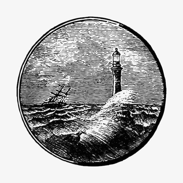 Burzliwy Seascape Rysunek Darmowych Wektorów