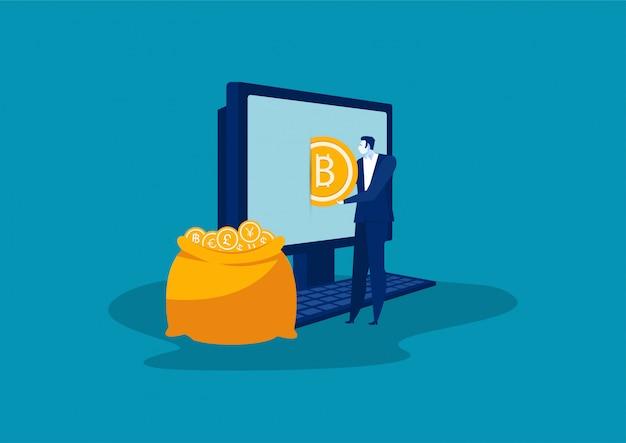 Businesman Wkłada Złote Bitcoiny Do Torby Z Laptopa. Wektor Premium Wektorów
