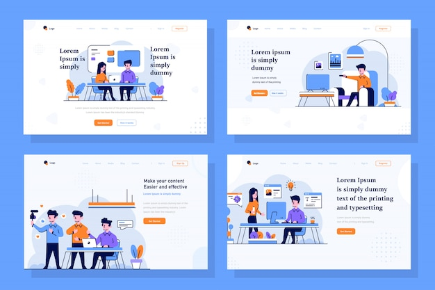 Business, Startup And Content Creator Landing Page Ilustracja W Stylu Projektowania Płaskiego I Konspektu Premium Wektorów