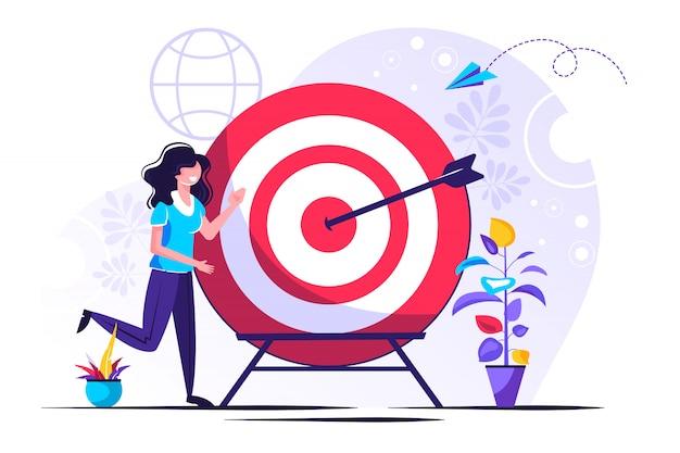 Business Vision, Duży Cel Z Kobietą, Praca Zespołowa Premium Wektorów