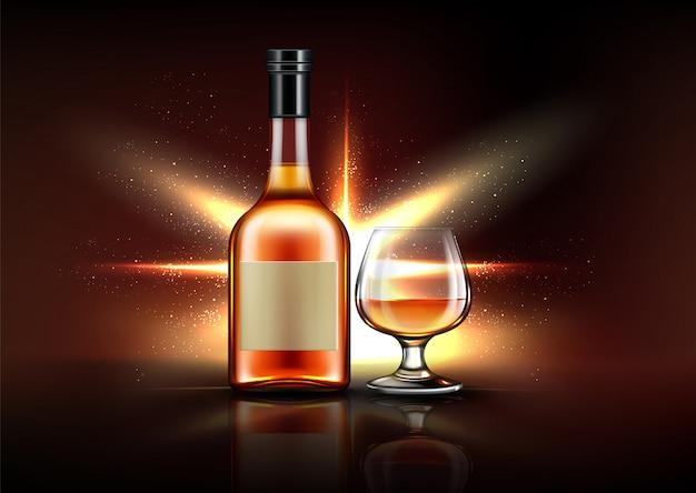 Butelka I Szkło Brandy Darmowych Wektorów