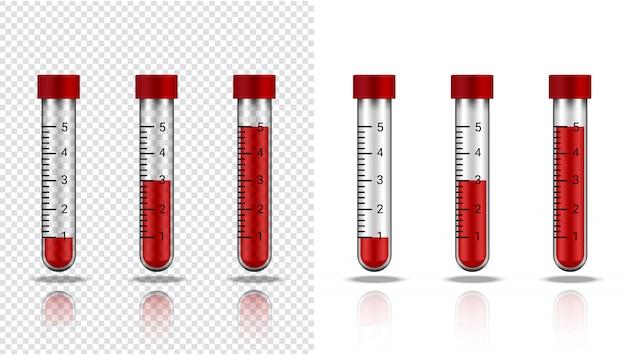 Butelka krwi realistyczne przezroczyste probówki z tworzywa sztucznego lub szkła do nauki i uczenia się na białym ilustracji opieki zdrowotnej i medycznej Premium Wektorów