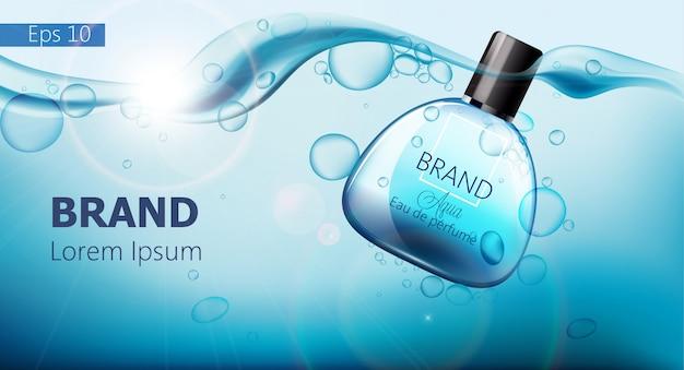 Butelka Perfum Tonąca W Niebieskiej Wodzie Z Bąbelkami Powietrza Darmowych Wektorów