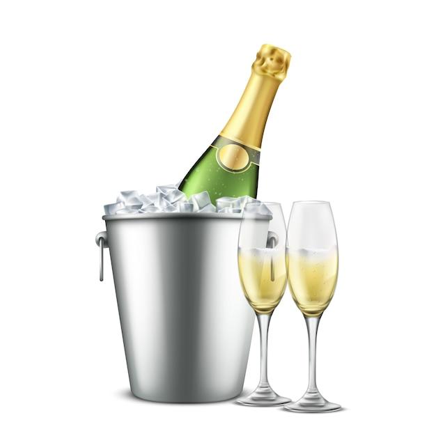 Butelka szampana w wiaderku restauracyjnym z lodem i kieliszkami do wina z napojem alkoholowym Darmowych Wektorów