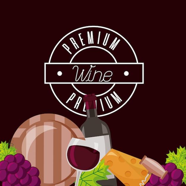 Butelka wina puchar beczka ser winogrona crokscrew Darmowych Wektorów