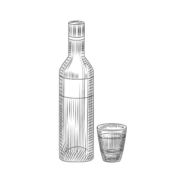 Butelka Wódki I Pełny Napój. Ręcznie Rysowane Szkic Szklane Butelki Alkoholu Na Białym Tle Premium Wektorów
