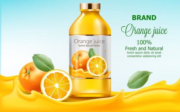 Butelka Ze świeżym, Naturalnym Sokiem Zanurzonym W Płynącym Ekstrakcie Z Pomarańczy Darmowych Wektorów