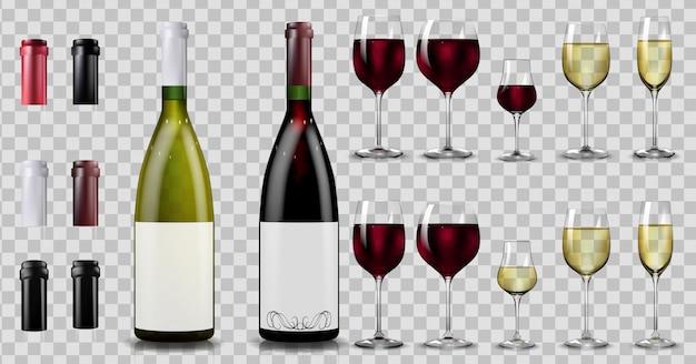 Butelki I Kieliszki Do Czerwonego I Białego Wina. Realistyczny Premium Wektorów