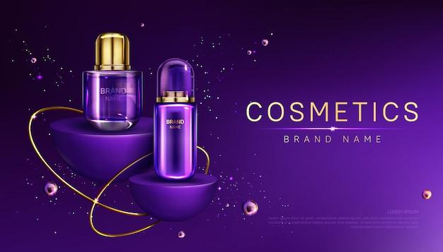 Butelki Kosmetyków Na Baner Reklamowy Podium Darmowych Wektorów