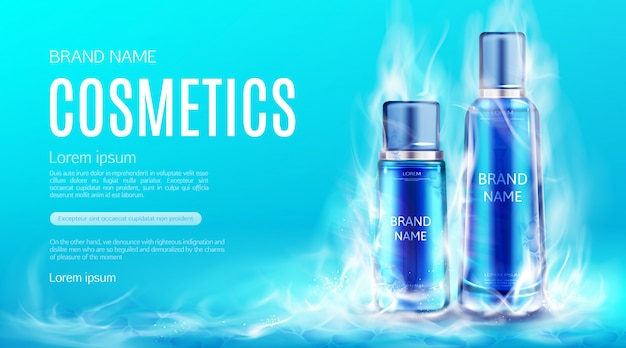 Butelki Kosmetyków W Suchym Lodzie Chmura Dymu. Chłodzenie Kosmetyczne Tubki Produktów Kosmetycznych, Demakijażu, Krem Lub Tonik Szablon Banner Reklamowy Darmowych Wektorów