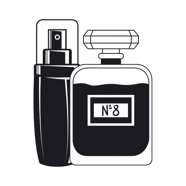 Butelki splash i fragrance tworzą ikonę Premium Wektorów