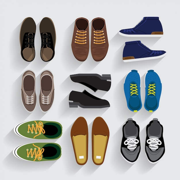 Buty Ikony Ustawiają Styl Premium Wektorów