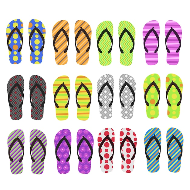 Buty Plażowe Flip Flop. Ilustracje Clipart. Kolekcja Zestawu Projektów. Premium Wektorów