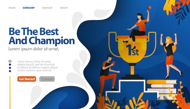 Być najlepszym i mistrzem, trofeum za numer jeden Premium Wektorów