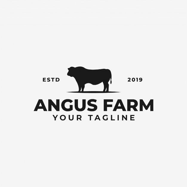 Bydło angus farm lub cow ranch, szablon logo wołowiny Premium Wektorów