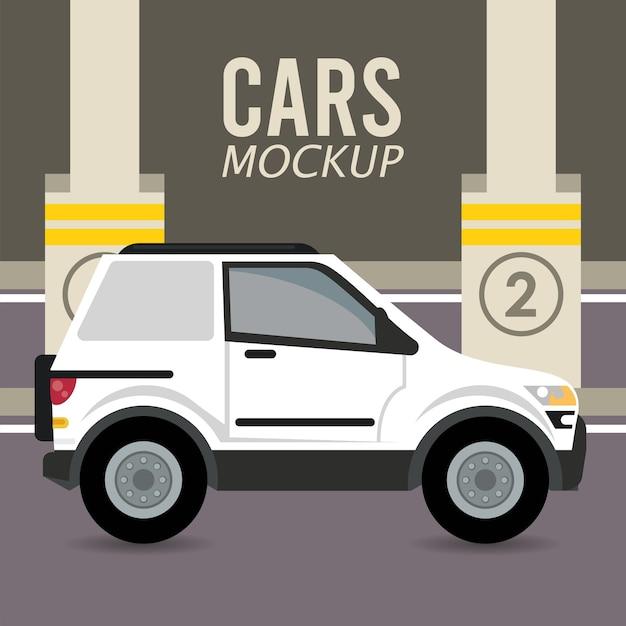 Camper Makieta Samochodu Samochodowego W Strefie Parkowania Premium Wektorów