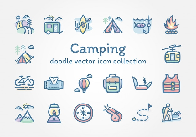 Camping doodle wektor ikona kolekcja Premium Wektorów