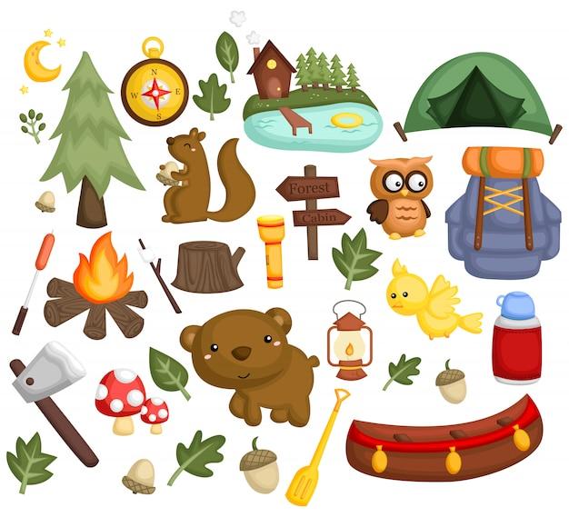 Camping image set Premium Wektorów
