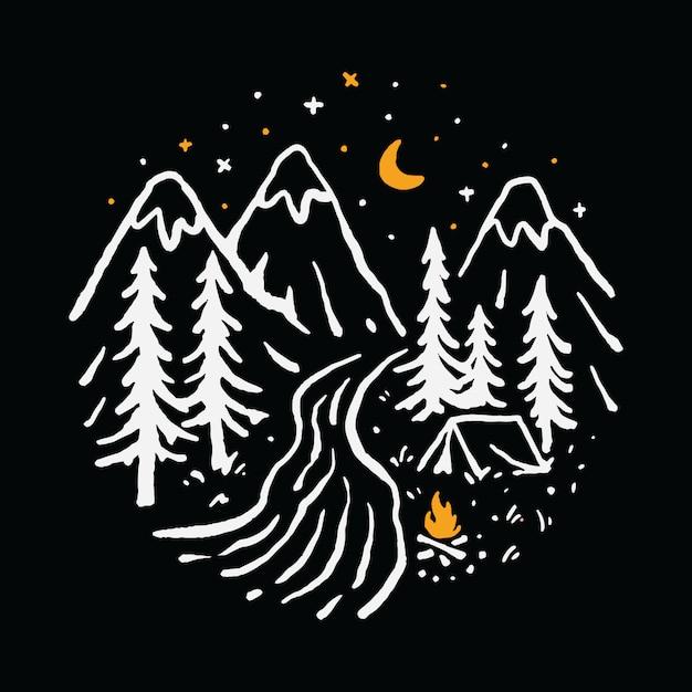 Camping Piesze Wycieczki Góra Natura Rzeka Ilustracja Art T-shirt Premium Wektorów