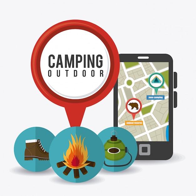 Camping, podróże i wakacje Darmowych Wektorów