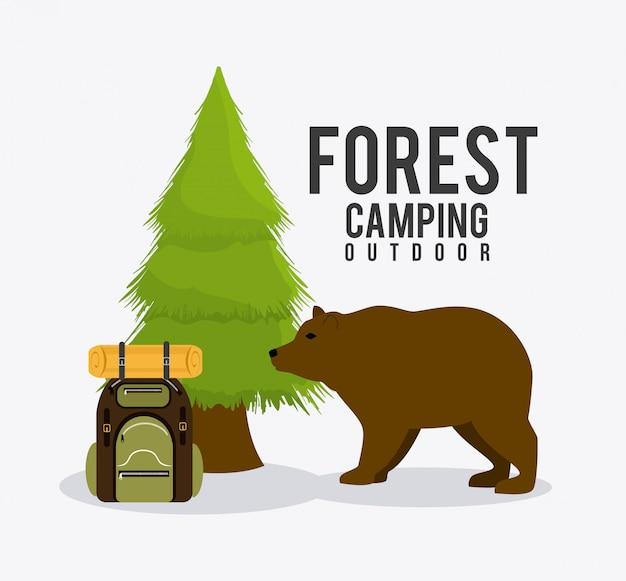 Camping, podróże i wakacje Premium Wektorów