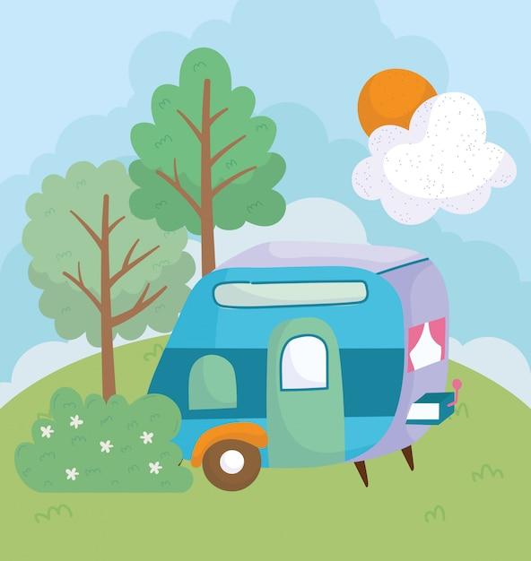 Camping Przyczepa Kwiaty Krzew Drzewa Trawa Słońce Chmura Kreskówka Premium Wektorów