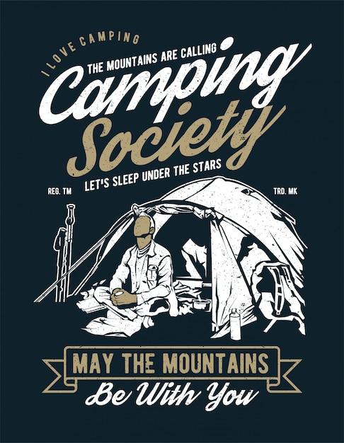 Camping society Premium Wektorów