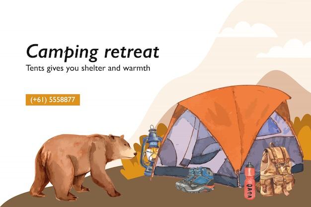 Camping tło z ilustracjami namiotu, latarni, buta, plecaka i kolby. Darmowych Wektorów