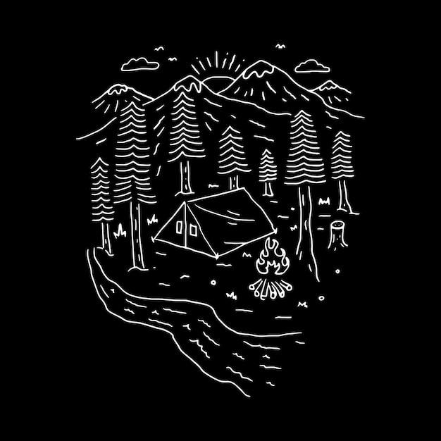 Camping turystyka linia wspinaczkowa graficzna ilustracja projekt koszulki z grafiką wektorową Premium Wektorów