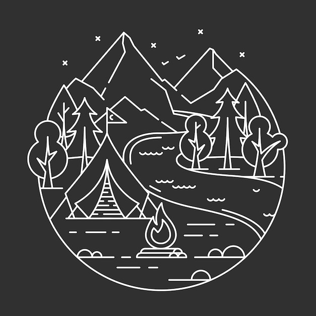 Camping W Lesie. Premium Wektorów
