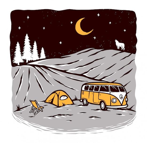 Camping W Nocy Ilustracji Premium Wektorów