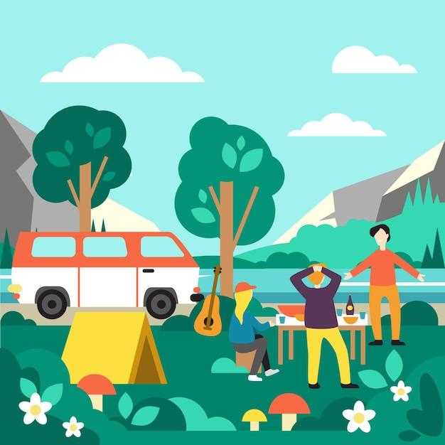 Camping Z Ilustracją Karawany Darmowych Wektorów