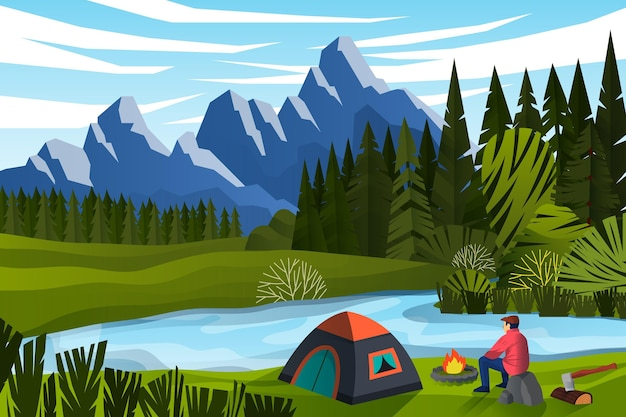 Camping Z Przyczepą Kempingową Darmowych Wektorów