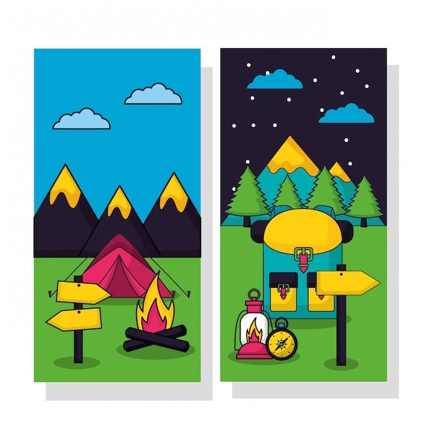 Campingowa wycieczka w mieszkanie stylu ilustraci secie Darmowych Wektorów