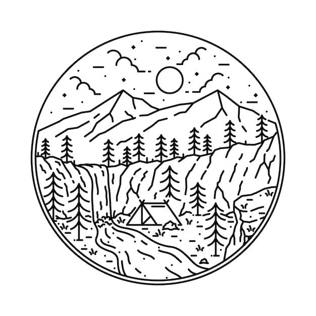Campingowy wycieczkuje wspinaczkową natury przygody grafiki ilustrację Premium Wektorów