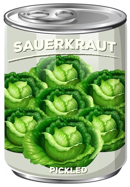 Can of pickled sauerkraut Darmowych Wektorów