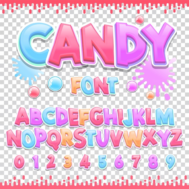 Candy czcionka łacińska Premium Wektorów