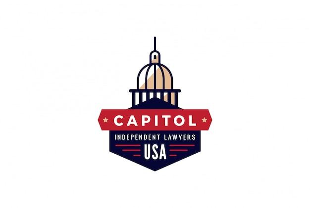 Capitol Logo Prawnik Streszczenie Vintage Retro Szablon Projektu. Twórczy Prokurator Rządowy Logotyp Koncepcja Ikona Symbol Darmowych Wektorów