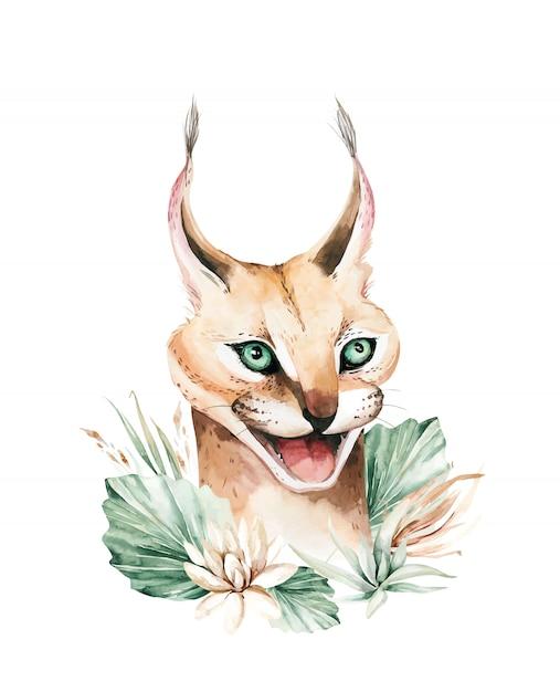 Caracal Wild Cat. Afrykański Serwal Portret Akwarela Malarstwo Zwierząt Premium Wektorów