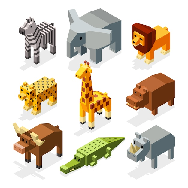 Cartoon 3d Izometryczny Afrykańskich Zwierząt. Zestaw Znaków Premium Wektorów
