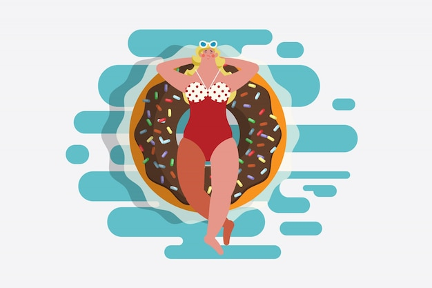 Cartoon charakter projektowania ilustracji. widok z góry dziewczyna w strój kąpielowy leżącego na pierścień pierścienia w kształcie pączka. pływające w basenie Darmowych Wektorów