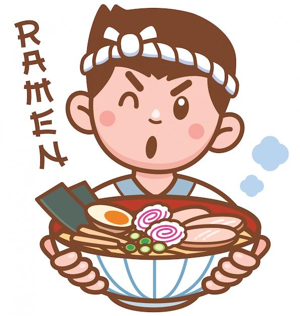Cartoon chef japoński makaron prezentujący jedzenie Premium Wektorów