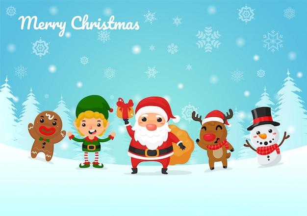 Cartoon christmas vector postacie z kreskówek świętego mikołaja, renifery, elfy i bałwany dają prezenty świąteczne. Premium Wektorów
