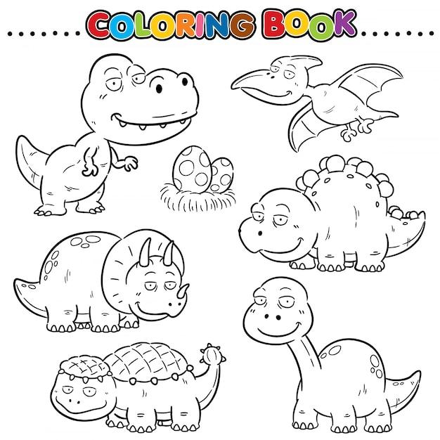 Cartoon Coloring Book - Dinosaurs Character Premium Wektorów