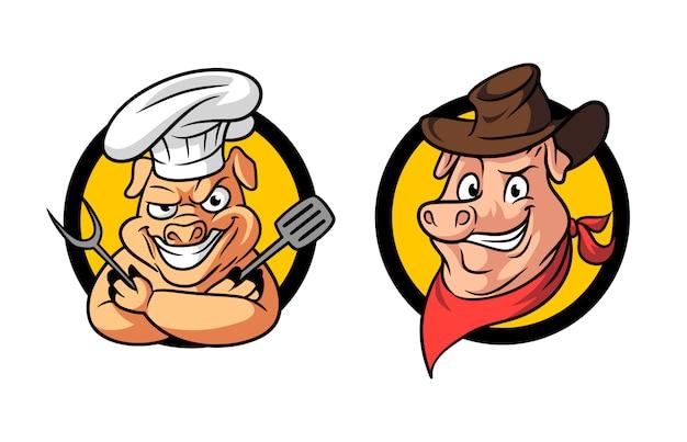 Cartoon Cowboy Pig Barbecue Bbq Maskotka Logo Premium Wektorów