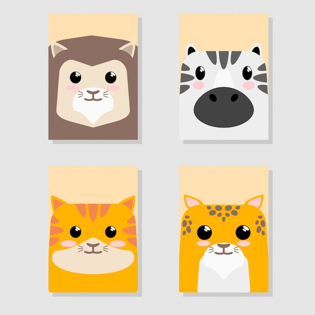 Cartoon cute baby animal icon icon set card Premium Wektorów
